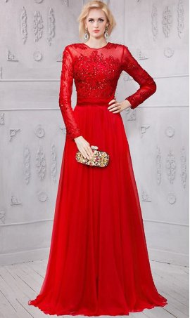 Charming beaded lace applique long sleeves chiffon Dress Gown