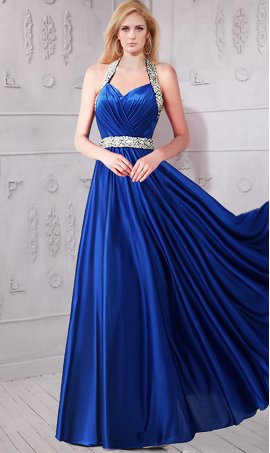 Gorgeous beaded flowing V neck open back halter top satin Prom Formal Evening Dress Gown