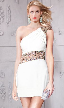 Gorgeous diagonal sheer beaded one shoulder short cocktail homecoming party graduation Dress Gown