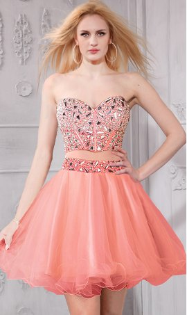 Gorgeous Embellished Bodice Short Two Piece Dress Gown