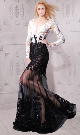 Gorgeous sheer illusion tow tone long sleeves black white color block lace Dress Gown