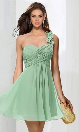 Flawless one shoulder ruched a line short chiffon Dress Gown