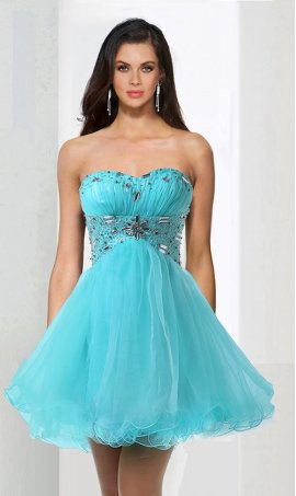 Alluring beaded strapless sweetheart corset back short mini A-line tulle homecoming cocktail Prom Formal Evening Dress Gown