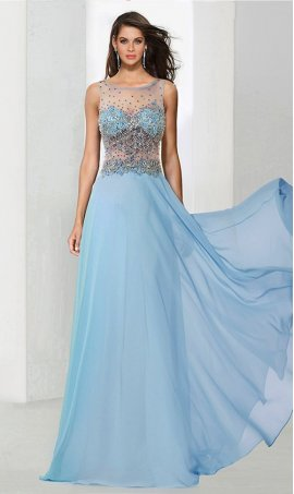 Chic ethereal beaded sheer illusion high neck a line chiffon Prom Formal Evening Dress Gown