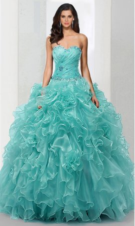 elegant beaded sweetheart organza ruffled a-line skirt quinceanera ball Dress Gown prom formal evening Dress Gown
