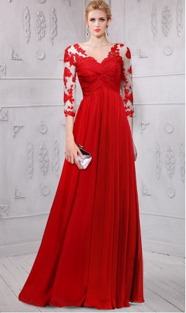 Chic astonishing ace appliques long sleeves chiffon Dress Gown