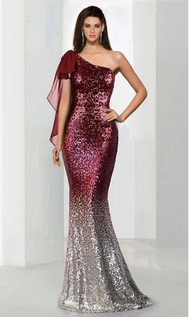 Chic super chci asymmetric ribbon gradient multi color ombre sequin one shoulder mermaid long Prom Formal Evening Dress Gown