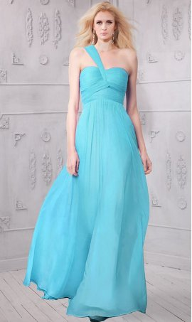 Chic Asymmetric strap Sleeveless One shoulder A-line Floor length Dress Gown
