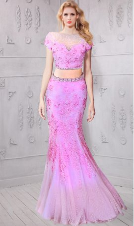 Chic jaw dropping bateau neckline cap sleeves beaded lace applique two piece mermaid Dress Gown