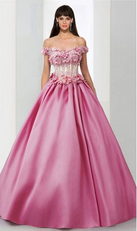 Chic floral lace applique off the shoulder sheer illusion satin ball Dress Gown prom formal quinceanera Dress Gown
