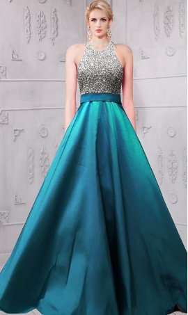 Chic impressing beaded halter high neck low scooped back taffeta satin ball Dress Gown