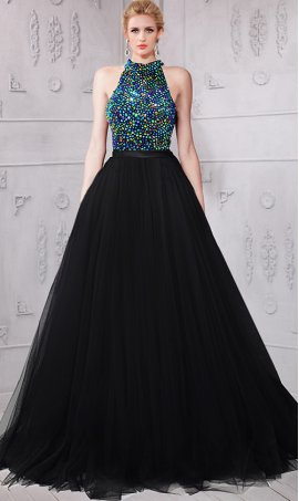 Chic absolutely stunning beaded high neck open back tulle ball Dress Gown Prom Formal Evening Dress Gown