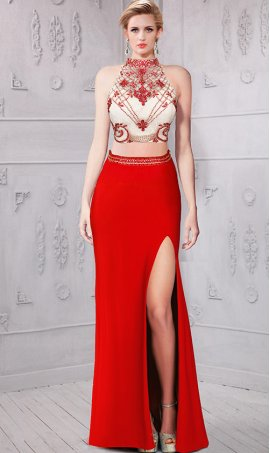 Chic stunning beaded high thigh slit slim fitting two piece jersey Dress Gown