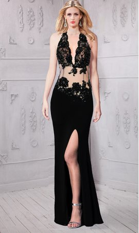 Chic glamorous beaded lace applique halter neckline sheer illusion high thigh slit jersey Dress Gown