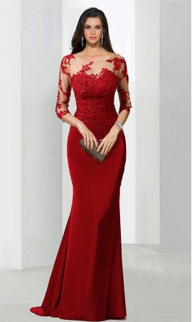 dramaticbeaded lace applique sheer illusion three quarter length sleeves jersey mermaid Dress Gown