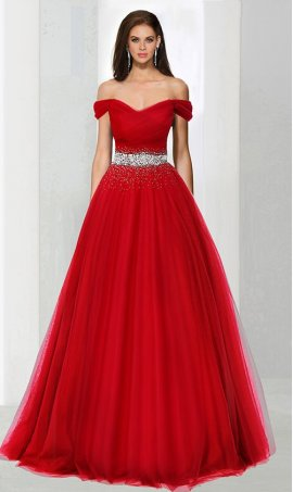 Charming beaded off the shoulder a line tulle ball Dress Gown prom formal evening Dress Gown