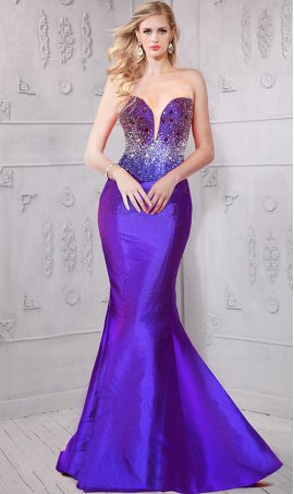 Chic captivating beaded plunging V neckline taffeta mermaid Dress Gown