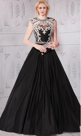 Chic magnificent beaded scoop neckline cap sleeves open back taffeta ball Dress Gown