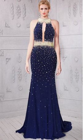 Charming heavily beaded sheer illusion halter neckline open back jersey Dress Gown