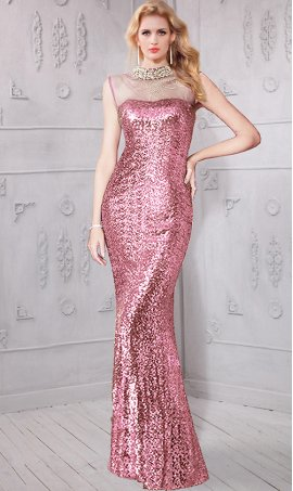 Charming beaded sheer illusion high neck sequin Dress Gown