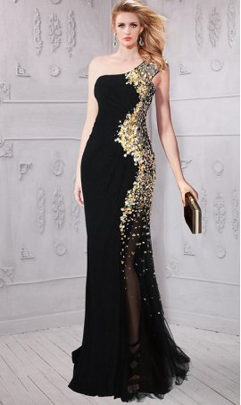 Chic eye-catching beaded single one shoulder strap sheer illusion side panel jersey Dress Gown