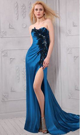 Chic beaded strapless sweetheart high slit feather satin Dress Gown
