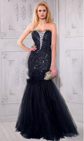 Chic beaded strapless sweetheart sequin tulle floor length mermaid prom formal evening Dress Gown