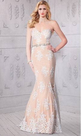 Chic absolutely amazing draping beads pearls adorned boat neck lace applique Dress Gown