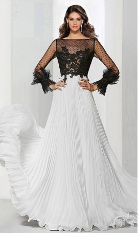 Alluring two tone illusion long sleeve lace applique pleated chiffon Dress Gown