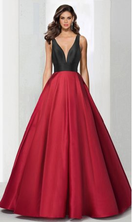 elegant color block v neck a line two tone satin ball Dress Gown Prom Formal Evening Dress Gown