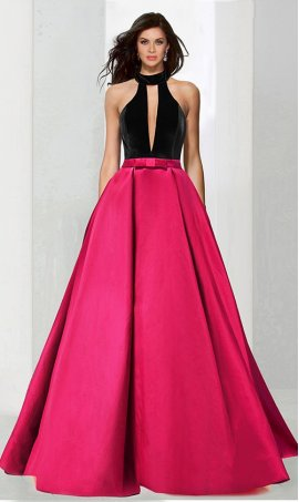 Chic plunging V neckline halter top velvet satin ball Dress Gown Prom Formal Evening Dress Gown