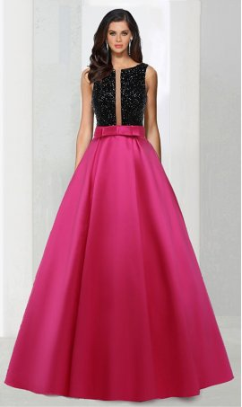 Chic stylish completely beaded satin ball Dress Gown