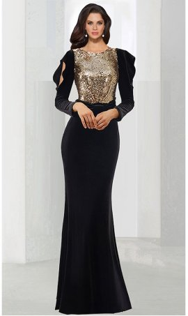 Chic regal ruffled split long sleeve fitted velvet Dress Gown