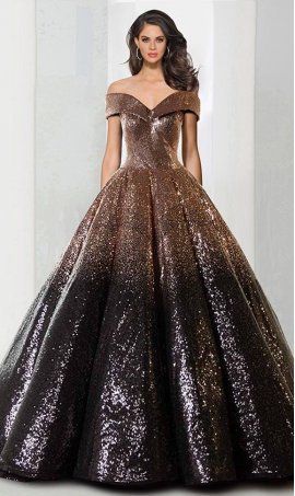 Chic magical off the shoulder a line quinceanera ombre sequin ball Dress Gown