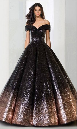 elegant off the shoulder a line ombre sequin ball Dress Gown quinceanera Dress Gown