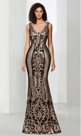 Chic show stopping v neck sequins adorned floor length evening Dress Gown