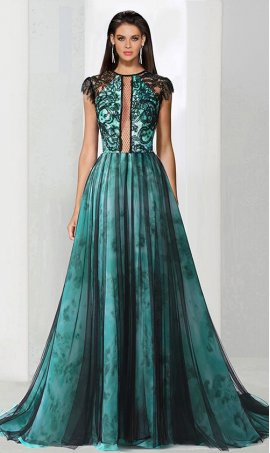 Flawless plunging neckline cap sleeves lace tulle evening Dress Gown