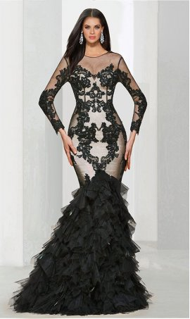 stylish beaded lace applique long sleeve layer tulle mermaid Dress Gown