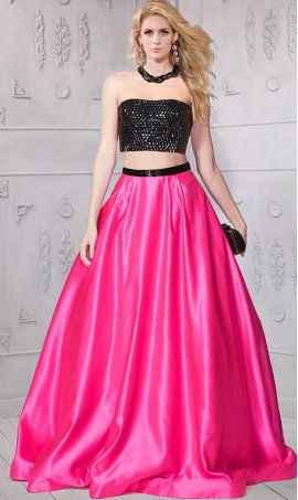 Chic unique design striking beaded two piece Dress Gown satin ball Dress Gown