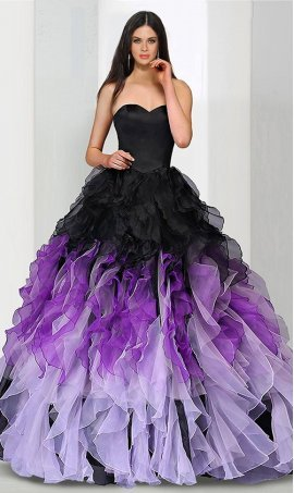 Chic flawless strapless sweetheart corset back ruffled ombre organza skirt quinceanera ball Dress Gown Prom Formal Evening Dress Gown