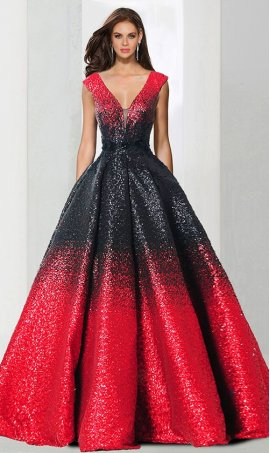 Gorgeous plunging v neckline ombre sequin ball Dress Gown Prom Formal Evening Dress Gown