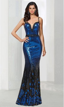 Chic beaded spaghetti straps plunging v-neck floor length ombre sequin mermaid Dress Gown