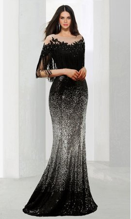 Chic magical beaded lace applique fringe detaied off the shoulder floor length ombre sequin Dress Gown