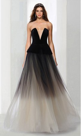 Chic awesome two tone color block plunging neckline ombre tulle Prom Formal Evening Dress Gown