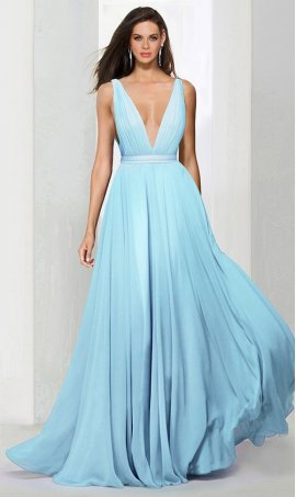 Chic plunging v neckline chiffon bridesmaid prom formal evening Dress Gown
