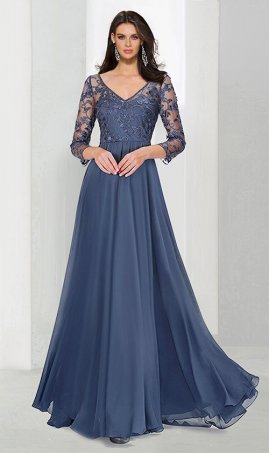 Chic gorgeous v neckline three quarter lace sleeves a line chiffon Dress Gown