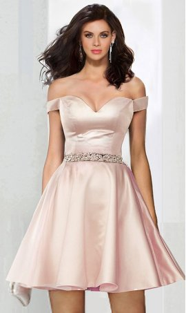Chic flirty beaded off the shoulder sweetheart a-line satin short Prom Formal Evening Dress Gown