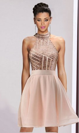 Flawless halter open back backless short sequin chiffon party Dress Gown