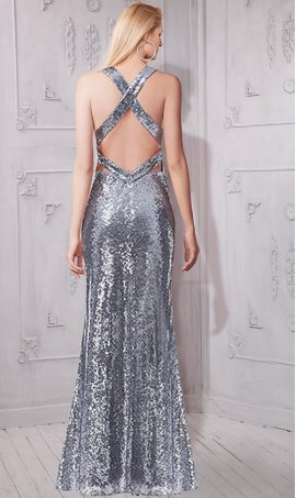 Gorgeous plunging v neck open back sequin Dress Gown