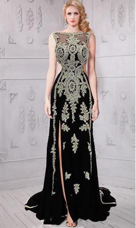 Chic breathtaking beaded lace applique illusion neckline cutout side slit evening Dress Gown